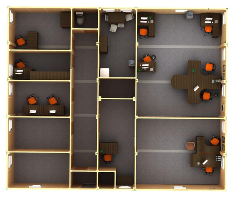 Modułowy układ biurowy
